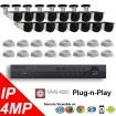 (IPS-16MPBTP) 16 Security Camera System package with 4 Mega Pixel Bullet Indoor & Outdoor Invisible IR Camera Up to 80FT
