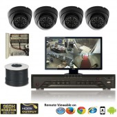 """(IPS-4CMDB) """"MINI-D"""" 4 Security Camera System package with 4 MINI Dome High resolution 700TVL EFFIO-E Indoor & Outdoor IR Camera Up to 80FT"""