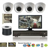 """(IPS-4CMDW) """"MINI-D"""" 4 Security Camera System package with 4 MINI Dome High resolution 700TVL EFFIO-E Indoor & Outdoor IR Camera Up to 80FT"""