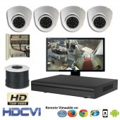 """Premier Compact"" 4 HD Security Camera System package with  4 720p Vandal Dome Indoor & Outdoor IR Camera Up to 80FT"