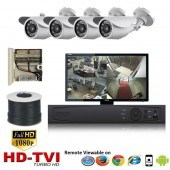 "(IPS-4TVIBW)""Premier Bullet"" 4 HD Security Camera System package with  4 1080p BULLET Indoor & Outdoor IR Camera Up to 80FT"