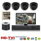 "(IPS-4TVIDB) ""Premier Compact 1080"" 4 Security Camera System package with 4 1080P Vandal Dome Indoor & Outdoor IR Camera Up to 80FT"