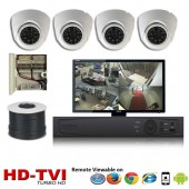 "(IPS-4TVIDW) ""Premier Compact 1080"" 4 Security Camera System package with 4 1080P Vandal Dome Indoor & Outdoor IR Camera Up to 80FT"