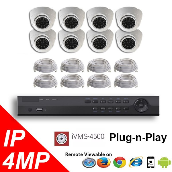 (IPS-8MPDP) 8 Security Camera System package with 4 Mega Pixel Vandal Dome Indoor & Outdoor IR Camera Up to 80FT
