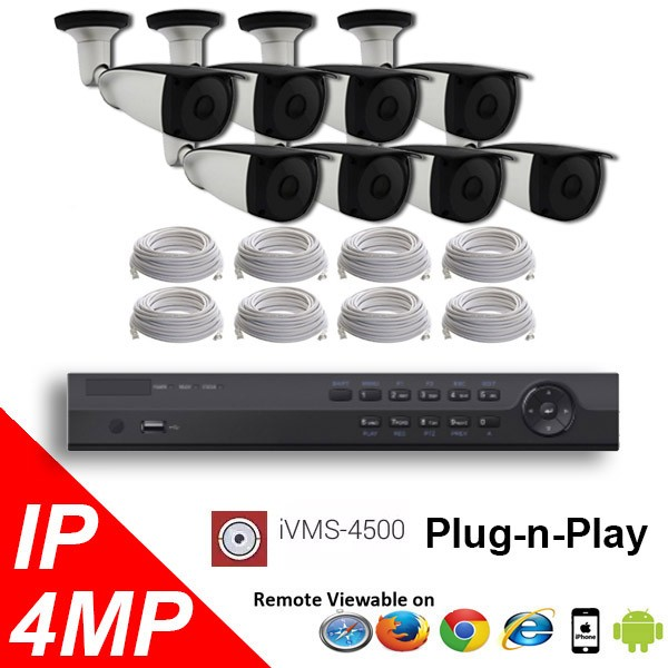 (IPS-8MPBTP) 8 Security Camera System package with 4 Mega Pixel Bullet Indoor & Outdoor Invisible IR Camera Up to 80FT