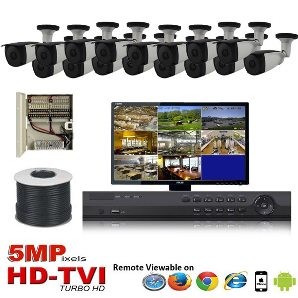 "(IPS-16TVIB5MP)""Platinum Bullet"" 16 HD Security Camera System package with  16 x 5MP BULLET Indoor & Outdoor IR Camera Up to 80FT"
