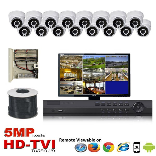 "(IPS-16TVID5MP) ""Platinum Compact 5MP"" 16 Security Camera System package with 16 x 5MP Vandal Dome Indoor & Outdoor IR Camera Up to 80FT"