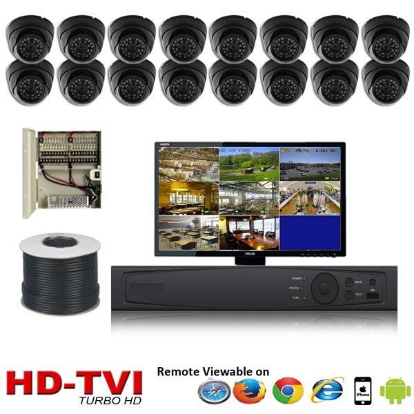 "(IPS-TVI16DB) ""Premier Compact 1080"" 16 Security Camera System package with 16 1080P Vandal Dome Indoor & Outdoor IR Camera Up to 80FT"