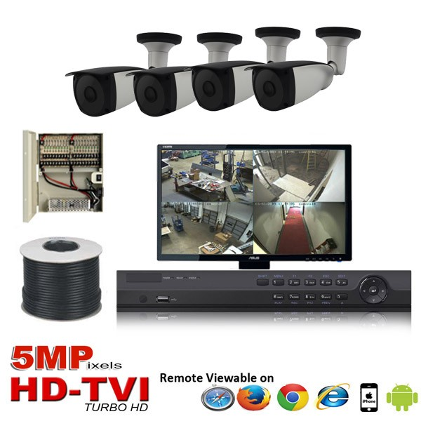 "(IPS-4TVIB5MP)""Platinum Bullet"" 4 HD Security Camera System package with  4 x 5MP BULLET Indoor & Outdoor IR Camera Up to 80FT"