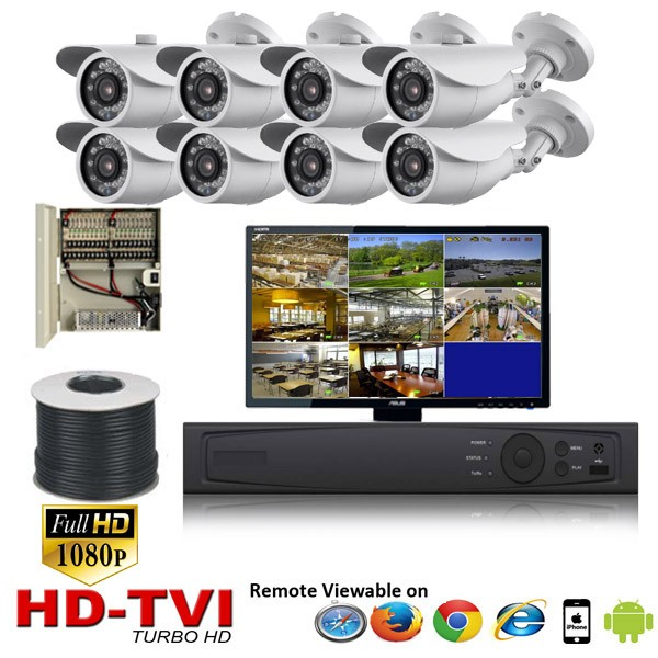 "(IPS-8LPBW)""Premier Bullet"" 8 HD Security Camera System package with  8 1080p BULLET Indoor & Outdoor IR Camera Up to 80FT"