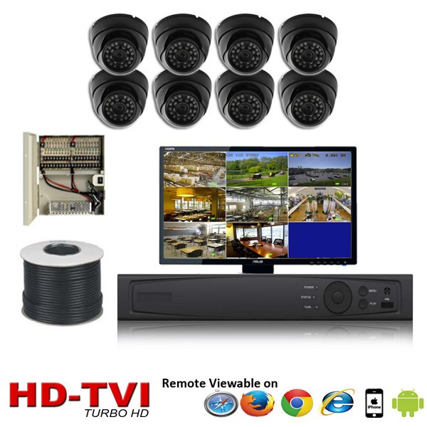 "(IPS-8TVIDB) ""Premier Compact 1080"" 8 Security Camera System package with 8 1080P Vandal Dome Indoor & Outdoor IR Camera Up to 80FT"