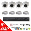 (IPS-4MPDP) 4 Security Camera System package with 4 Mega Pixel Vandal Dome Indoor & Outdoor IR Camera Up to 80FT