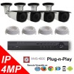 (IPS-4MPBTP) 4 Security Camera System package with 4 Mega Pixel Bullet Indoor & Outdoor Invisible IR Camera Up to 80FT