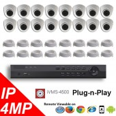 (IPS-16MPDP) 16 Security Camera System package with 4 Mega Pixel Vandal Dome Indoor & Outdoor IR Camera Up to 80FT