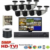 "(IPS-8TVIB5MP)""Platinum Bullet"" 8 HD Security Camera System package with  8 x 5MP BULLET Indoor & Outdoor IR Camera Up to 80FT"